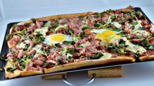 Recette de Pizza lardons et mache