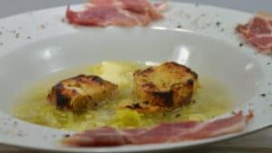 Recette de Soupe de poireaux et jambon cru